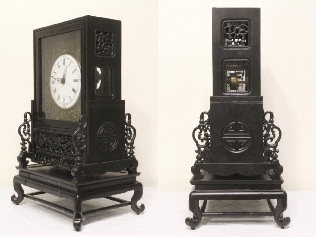 Chinese rosewood cased table clock with stand - 7