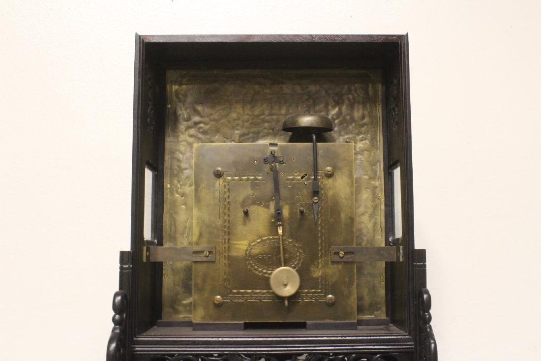 Chinese rosewood cased table clock with stand - 9