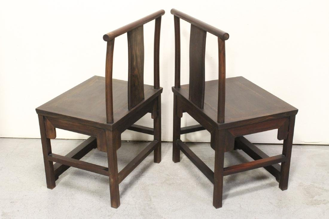 Pair Chinese vintage rosewood chairs - 6