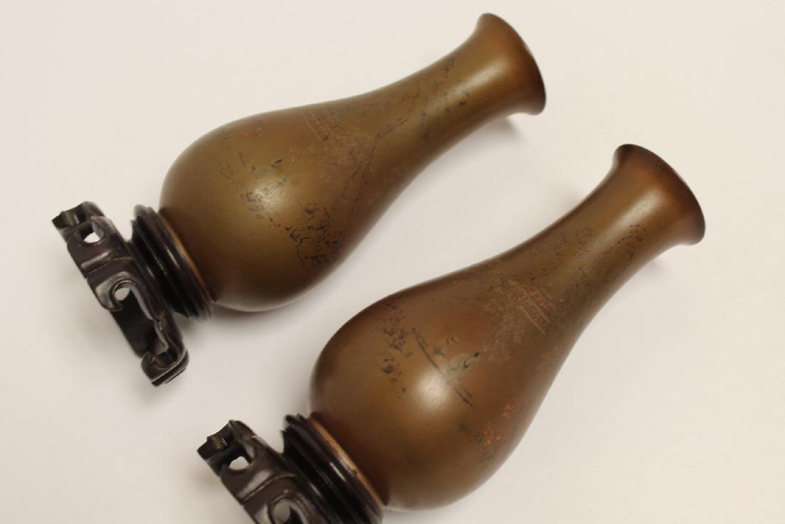 Pair Chinese antique Fuzhou lacquer vases - 10