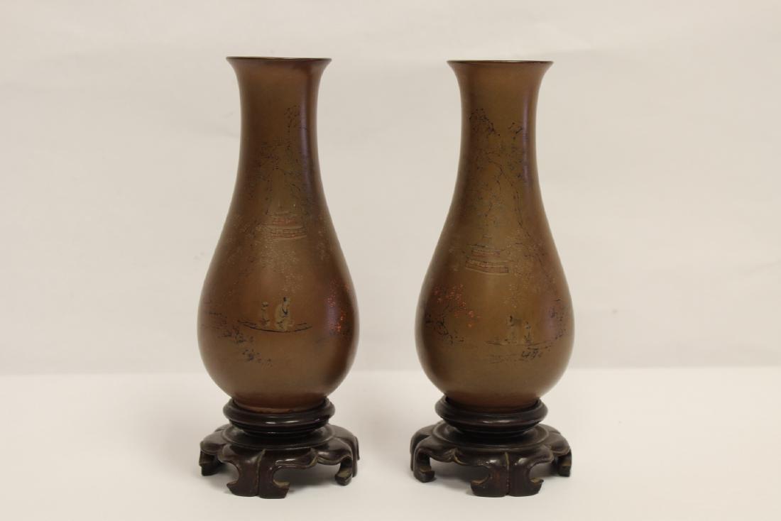 Pair Chinese antique Fuzhou lacquer vases
