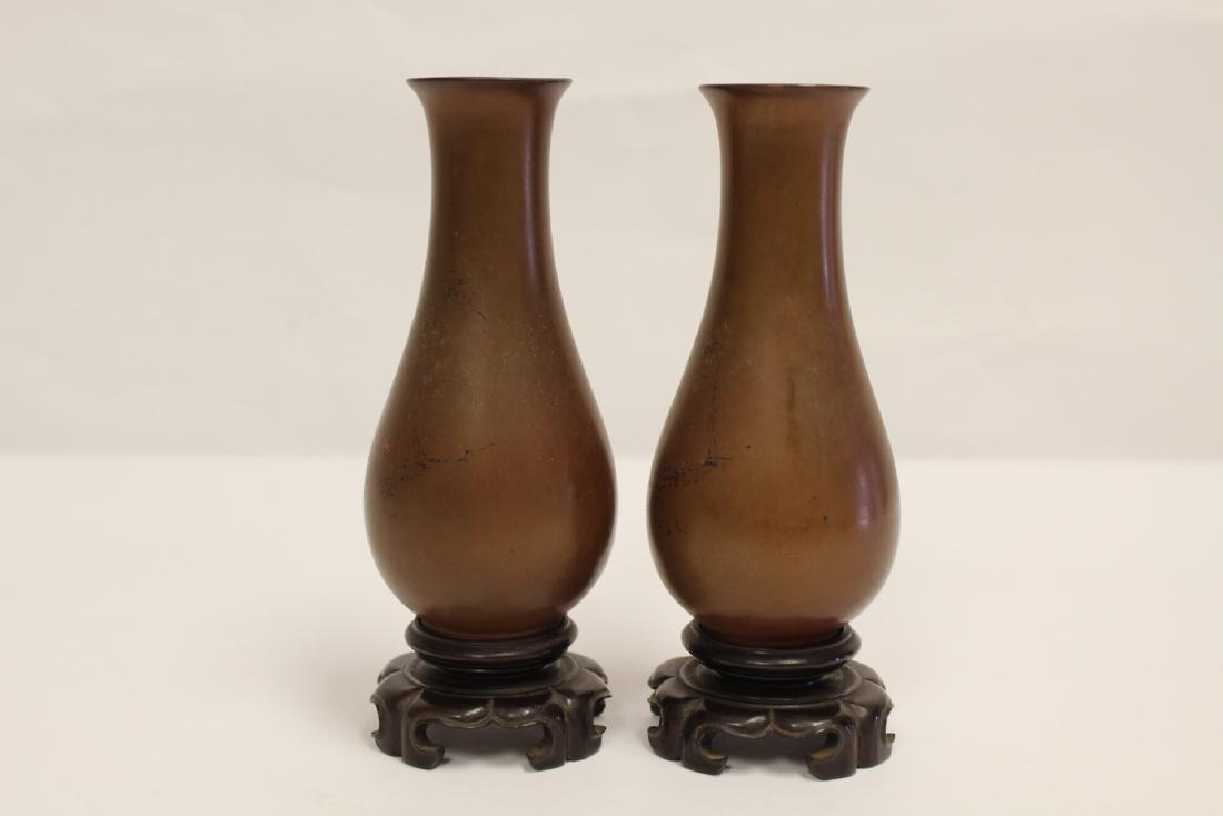 Pair Chinese antique Fuzhou lacquer vases - 2
