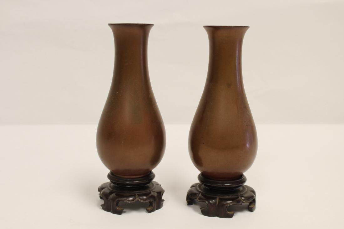 Pair Chinese antique Fuzhou lacquer vases - 3