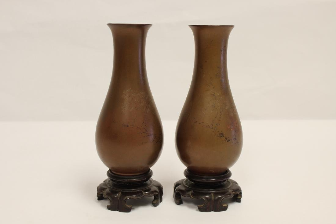 Pair Chinese antique Fuzhou lacquer vases - 4