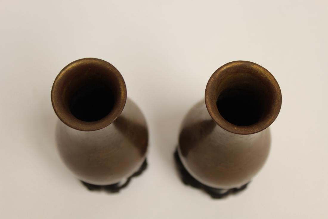 Pair Chinese antique Fuzhou lacquer vases - 5