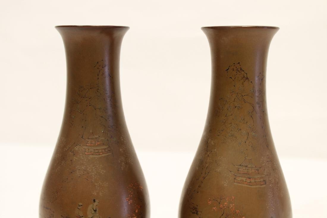 Pair Chinese antique Fuzhou lacquer vases - 6