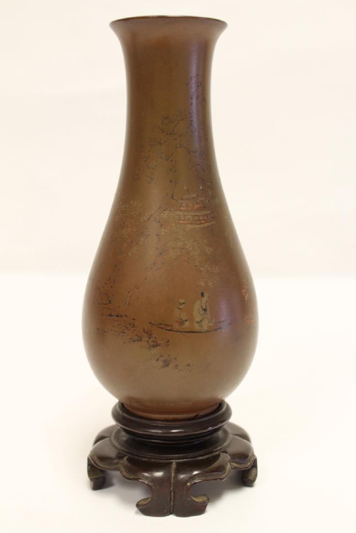 Pair Chinese antique Fuzhou lacquer vases - 9