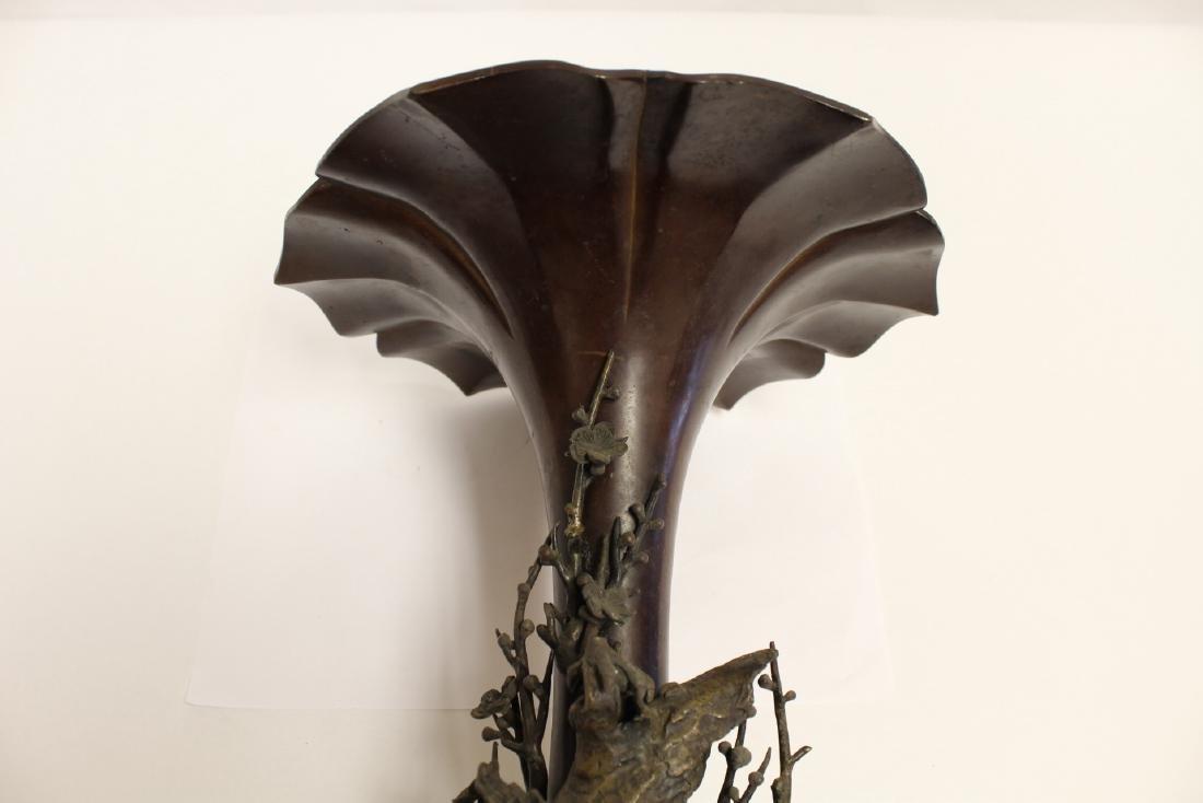 very ornate Japanese antique Shakudu bronze vase - 6
