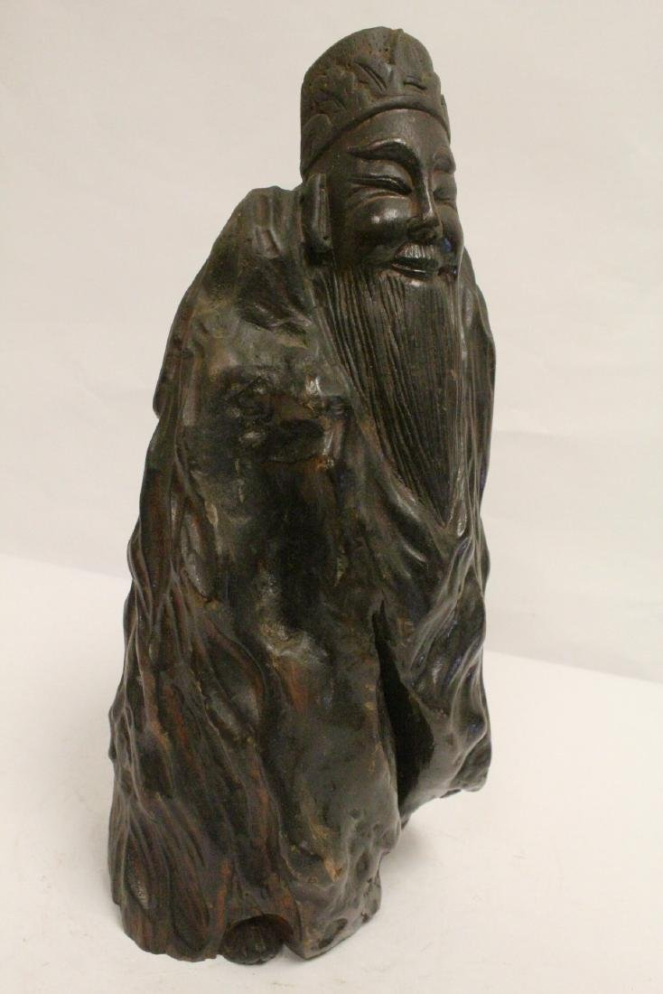 Large Chinese wood carved shoulao - 10