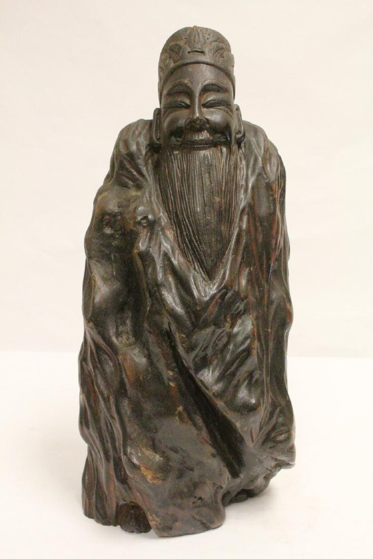 Large Chinese wood carved shoulao