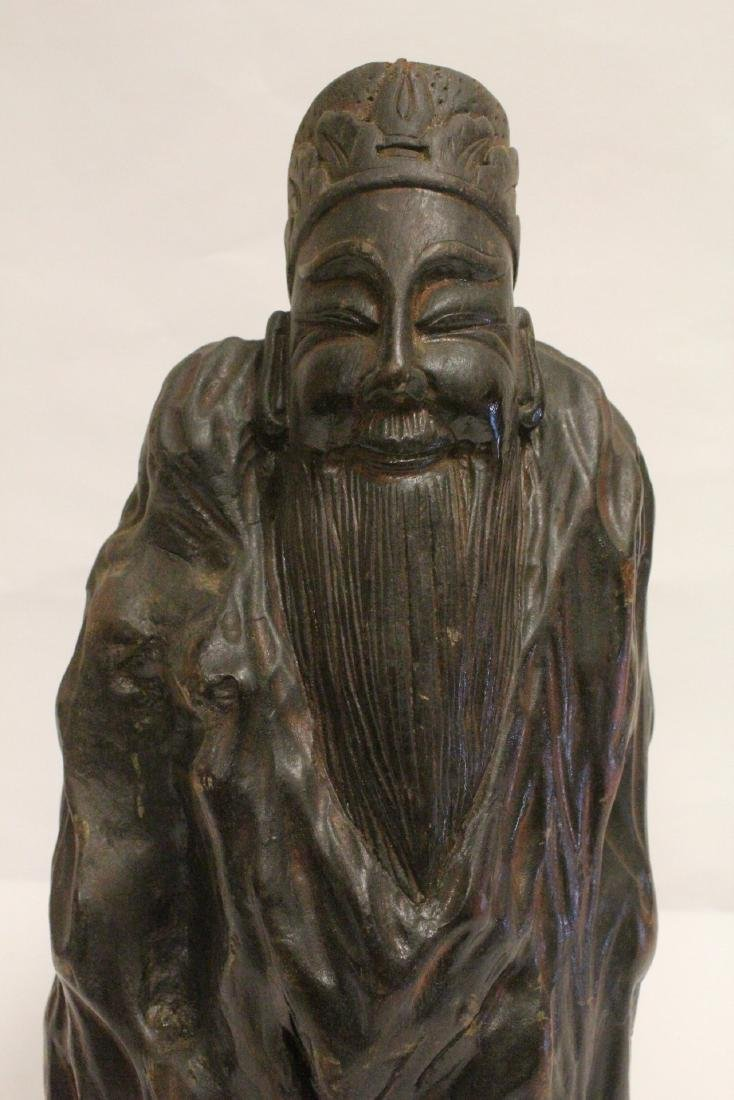 Large Chinese wood carved shoulao - 6