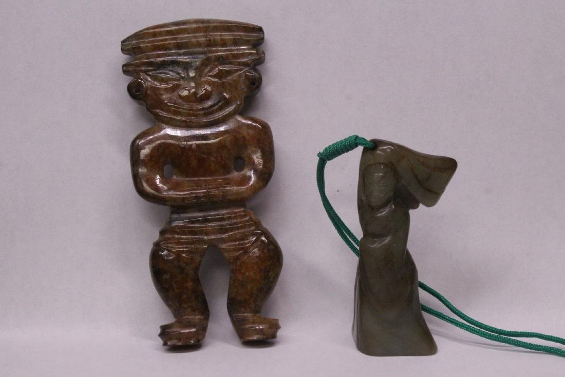 2 Chinese figural motif jade carvings