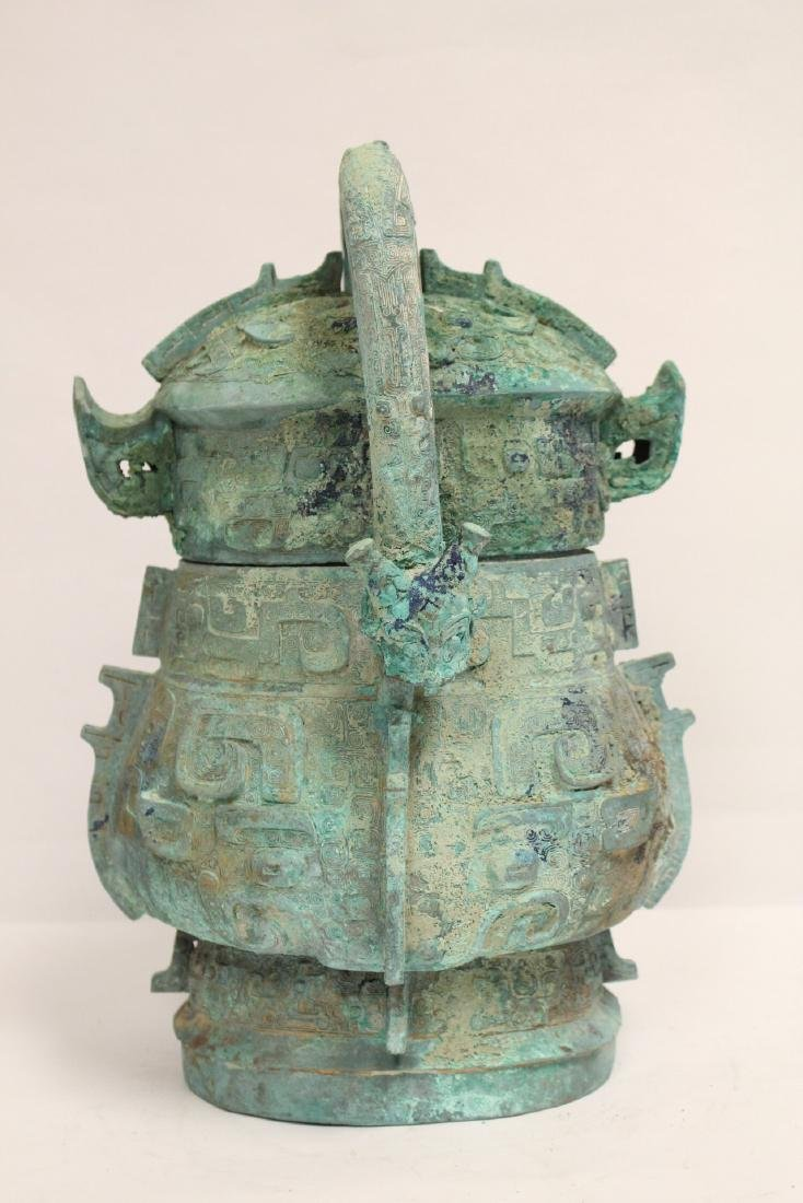 A fine Chinese archaic style bronze handled hu - 3