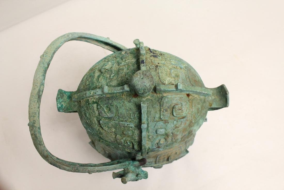 A fine Chinese archaic style bronze handled hu - 5