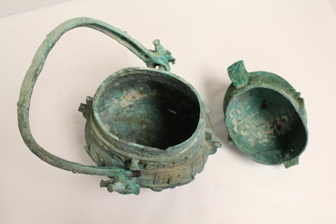 A fine Chinese archaic style bronze handled hu - 6