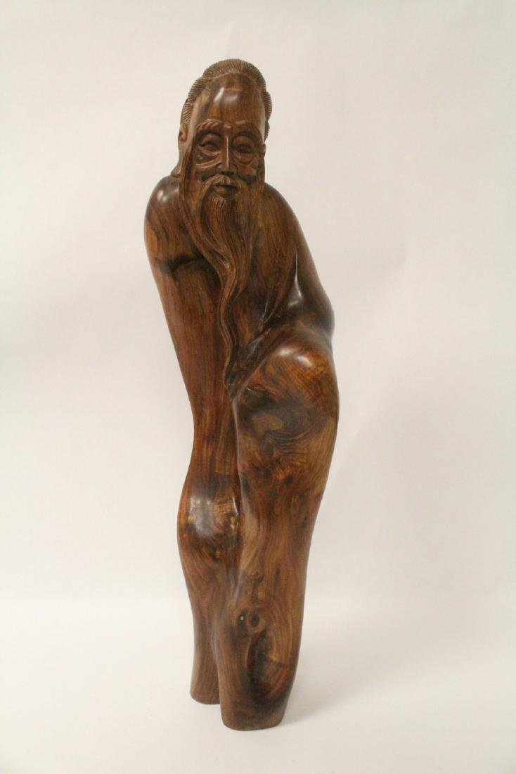 Large Chinese huali wood carved shoulao