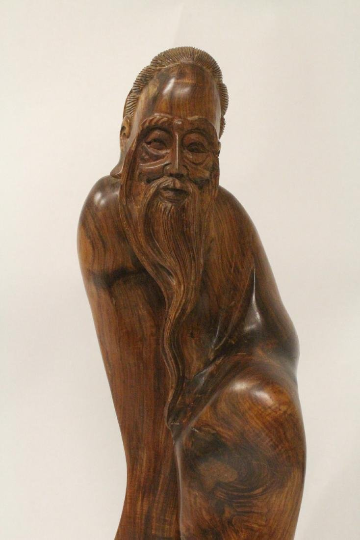 Large Chinese huali wood carved shoulao - 3