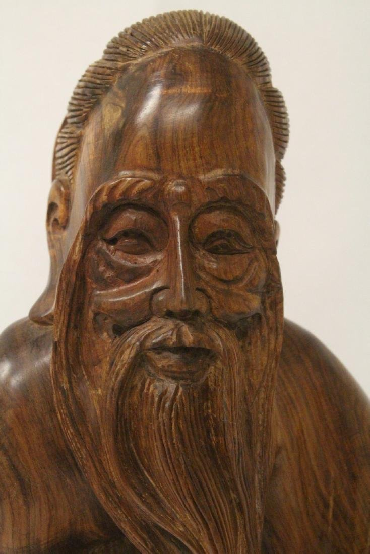 Large Chinese huali wood carved shoulao - 4