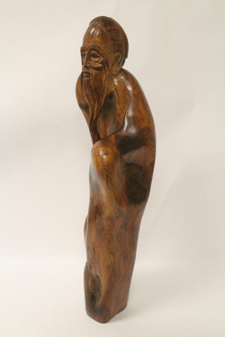 Large Chinese huali wood carved shoulao - 5