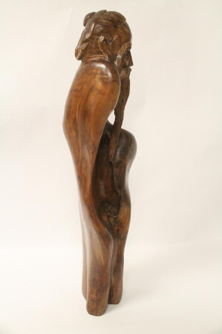 Large Chinese huali wood carved shoulao - 8
