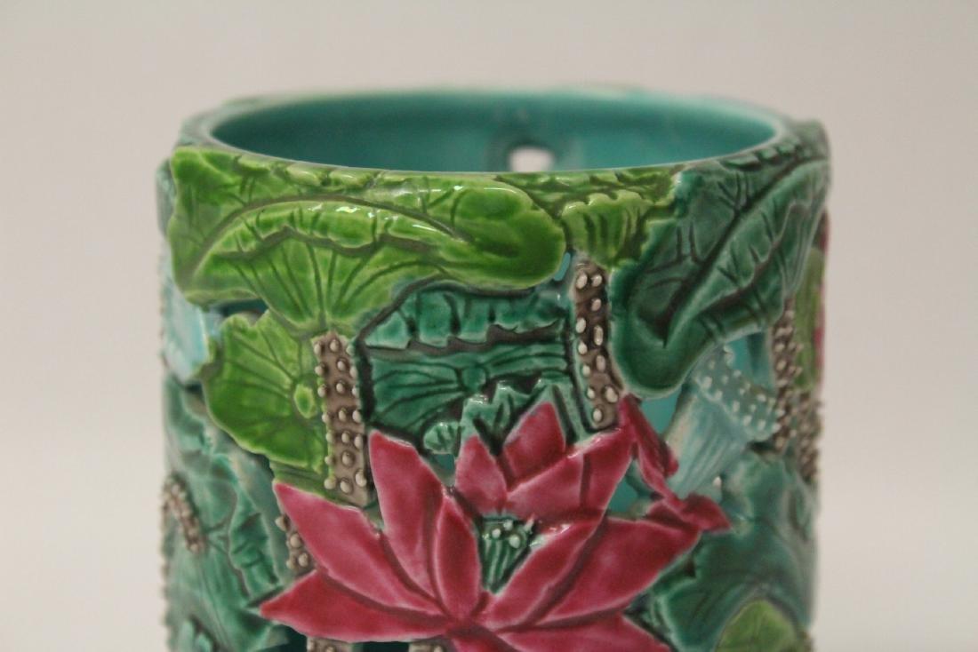 A beautiful famille rose porcelain brush holder - 7