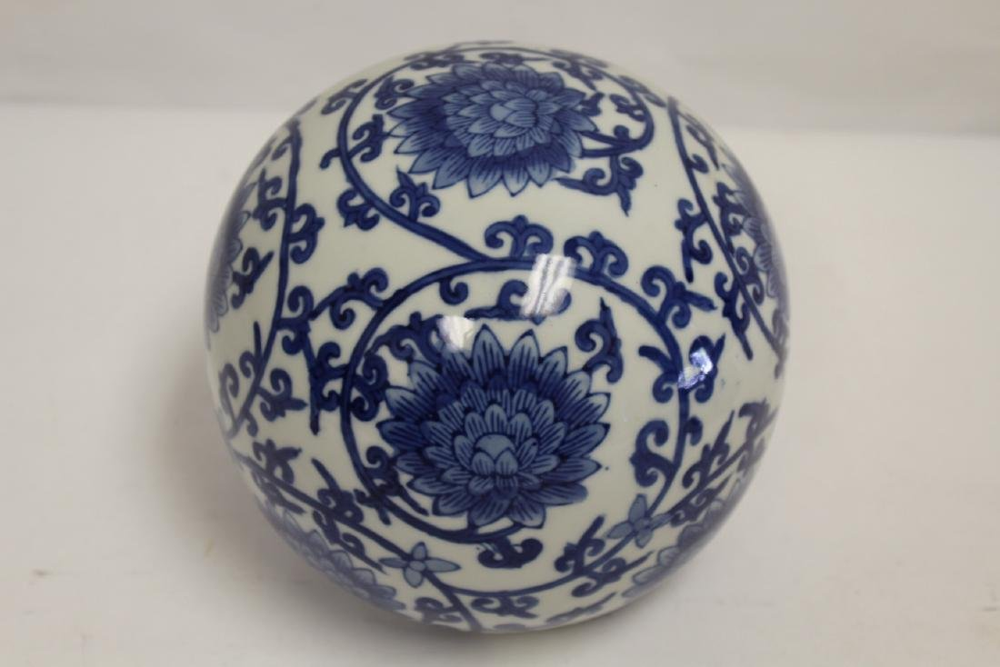 A Chinese b&w porcelain globe, possible a lamp shade - 10