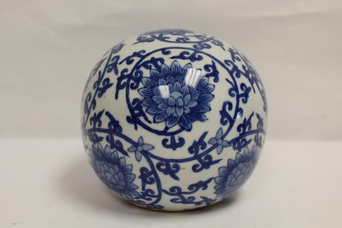 A Chinese b&w porcelain globe, possible a lamp shade - 2