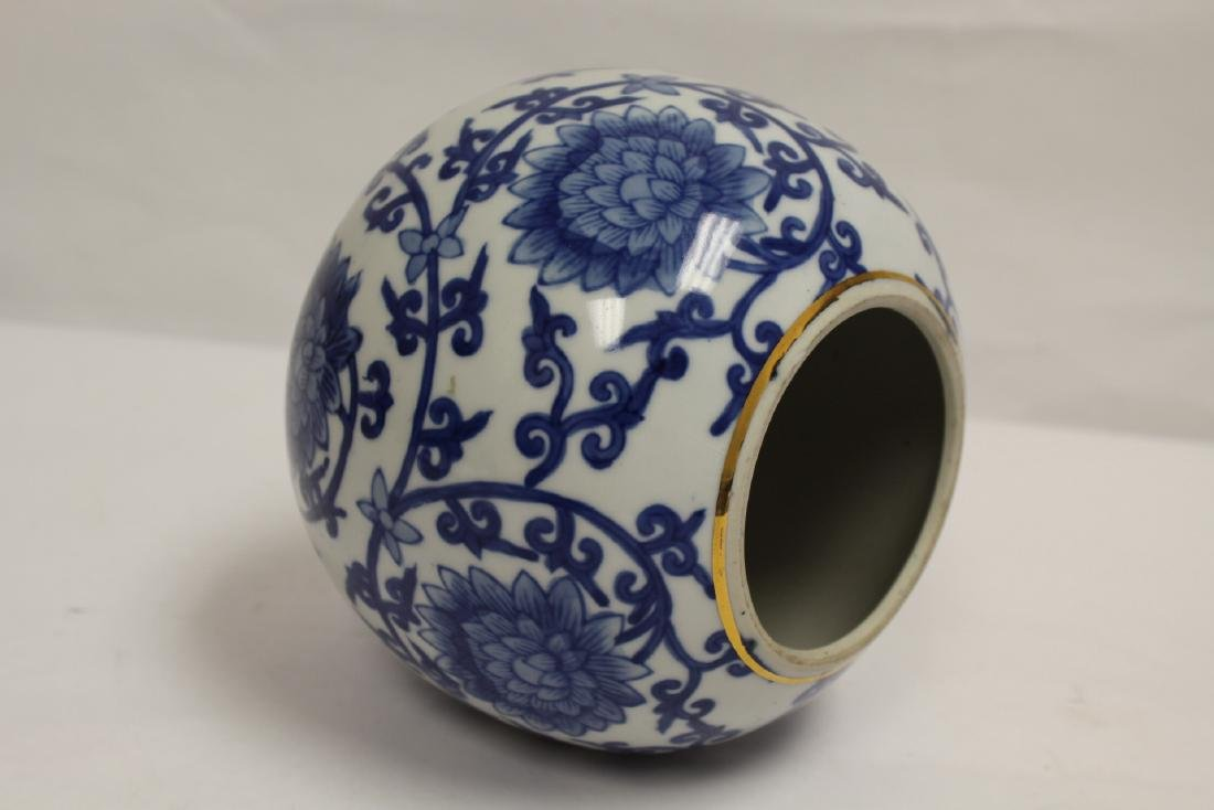 A Chinese b&w porcelain globe, possible a lamp shade - 7