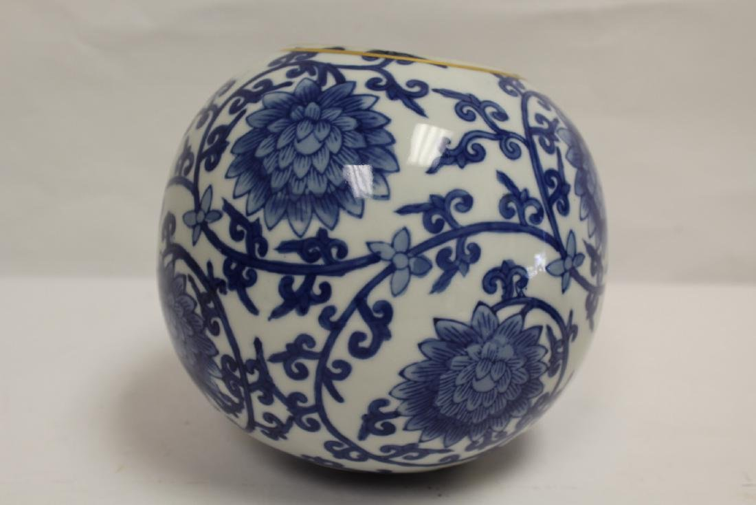 A Chinese b&w porcelain globe, possible a lamp shade - 9