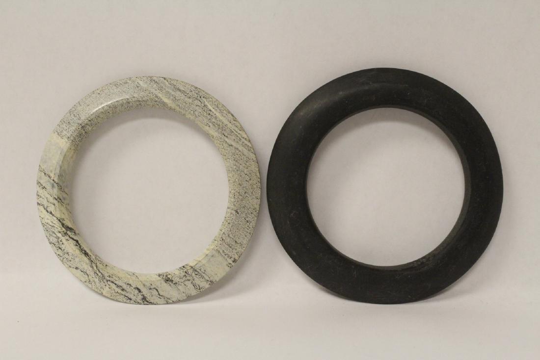2 Chinese jade like stone carved bangle bracelets