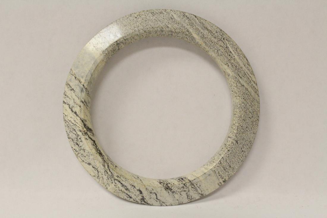 2 Chinese jade like stone carved bangle bracelets - 6