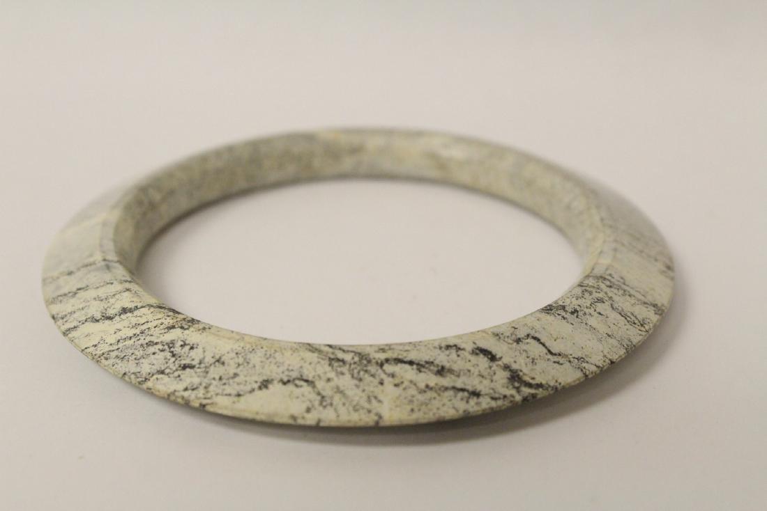 2 Chinese jade like stone carved bangle bracelets - 7