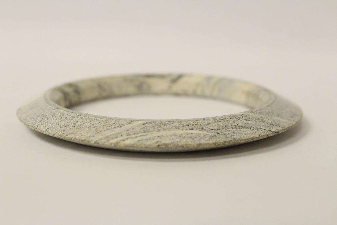 2 Chinese jade like stone carved bangle bracelets - 8
