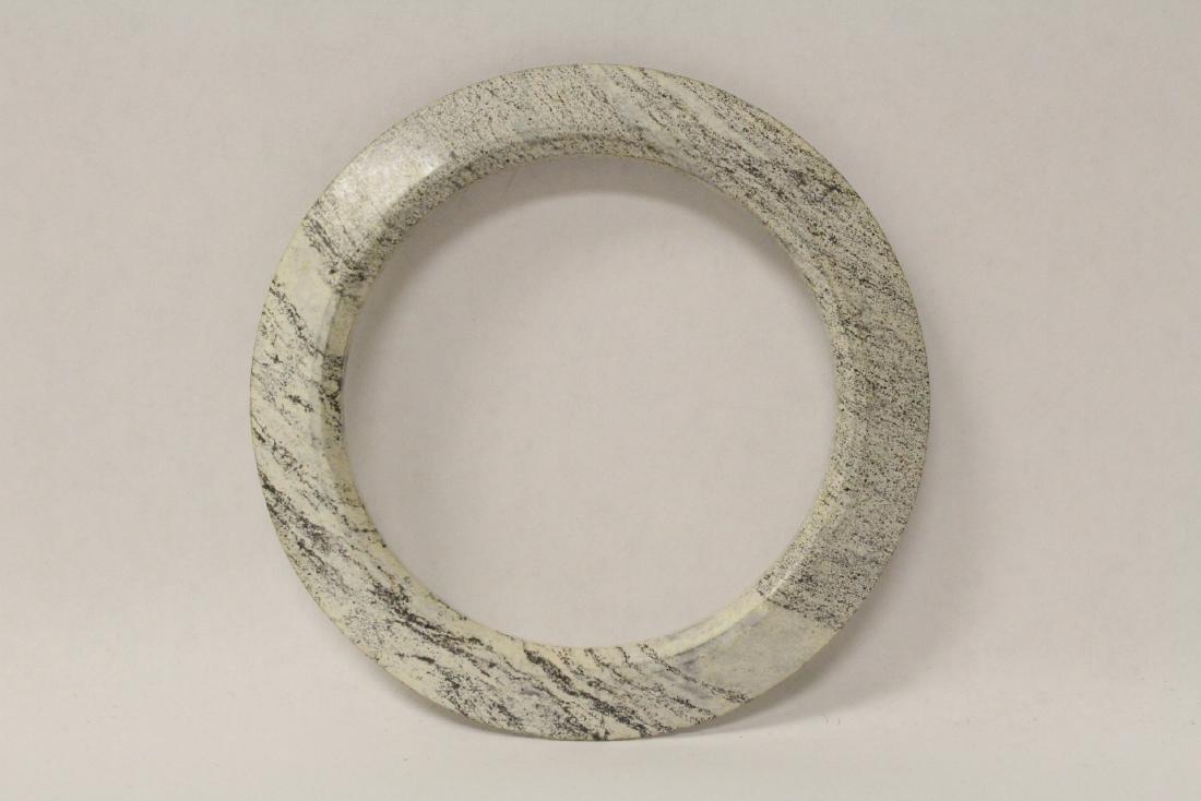 2 Chinese jade like stone carved bangle bracelets - 9