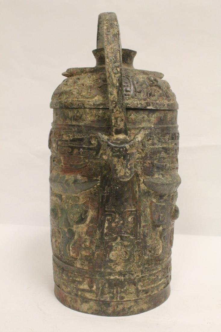 Chinese archaic style bronze handled hu - 2