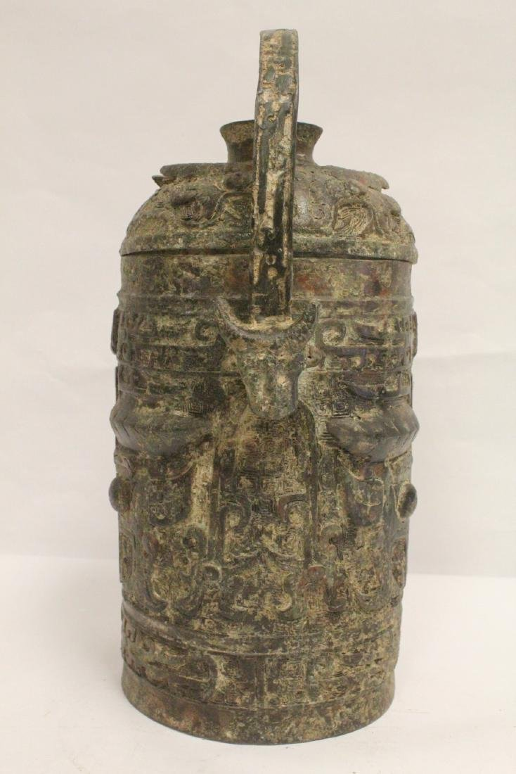 Chinese archaic style bronze handled hu - 4