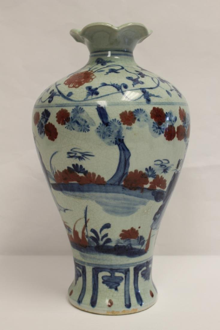 Chinese blue, red and white porcelain meiping - 3