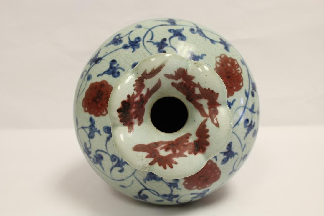 Chinese blue, red and white porcelain meiping - 6