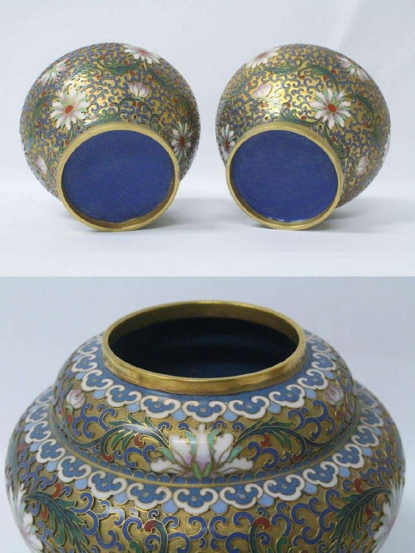 Pair Chinese cloisonne covered jars - 10