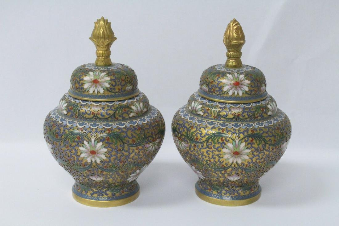 Pair Chinese cloisonne covered jars