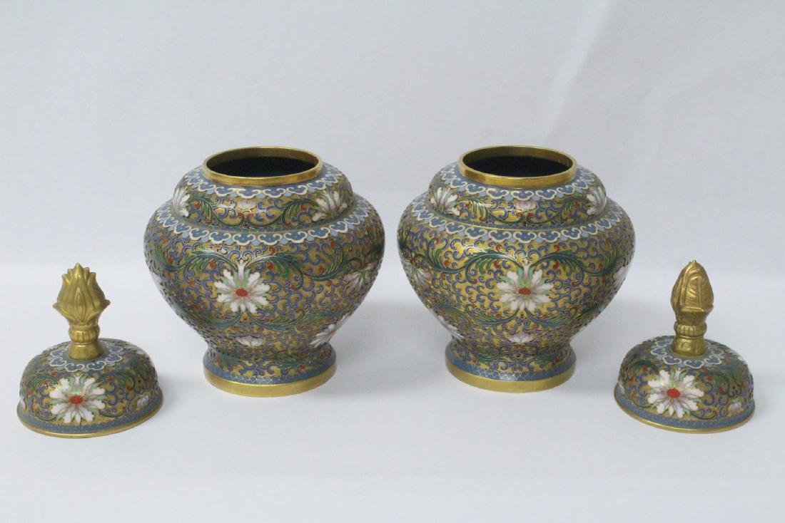 Pair Chinese cloisonne covered jars - 2