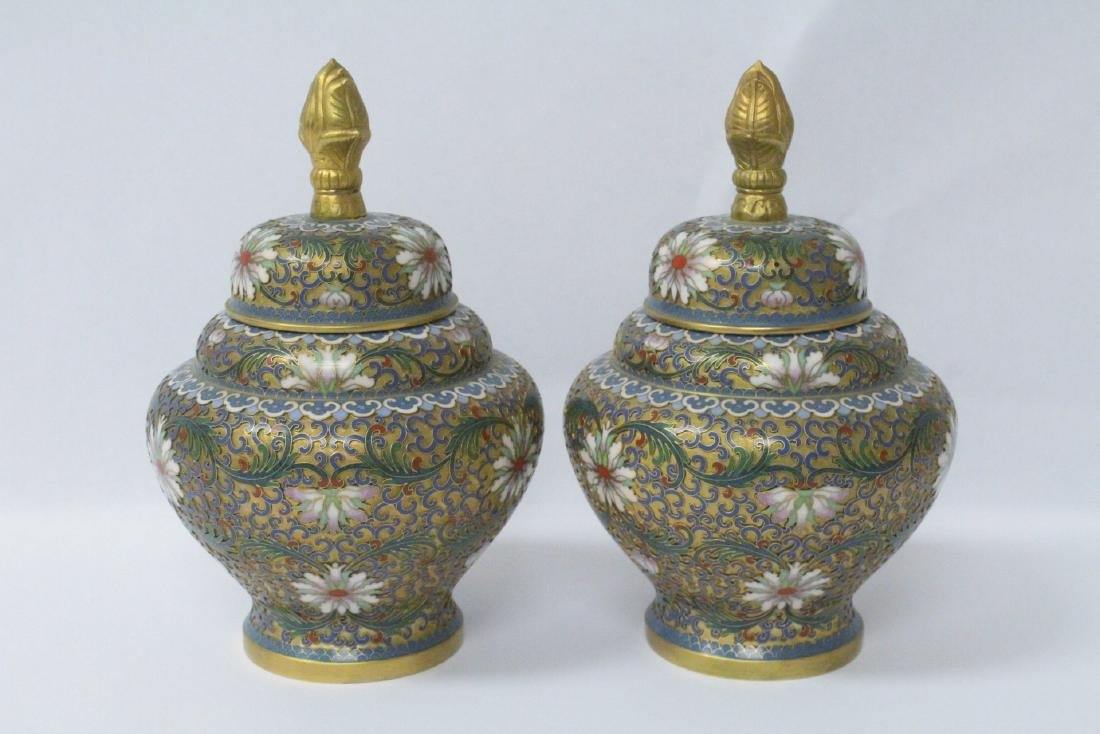 Pair Chinese cloisonne covered jars - 3
