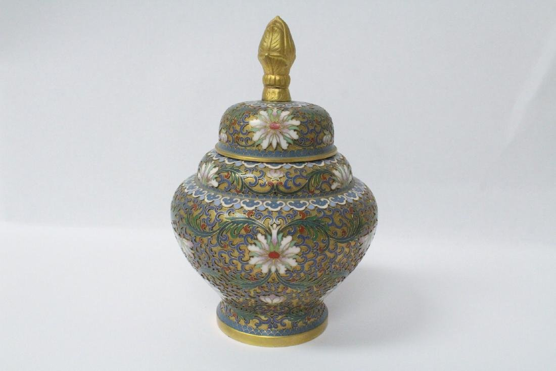 Pair Chinese cloisonne covered jars - 4
