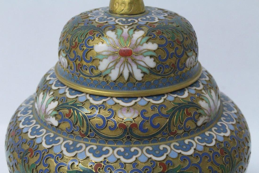Pair Chinese cloisonne covered jars - 5