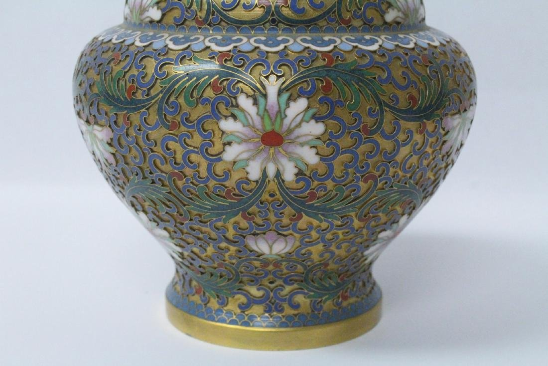 Pair Chinese cloisonne covered jars - 6