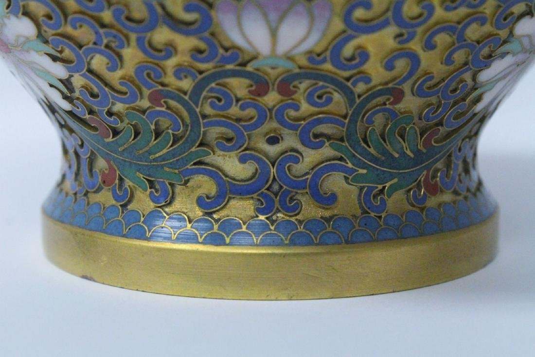 Pair Chinese cloisonne covered jars - 7