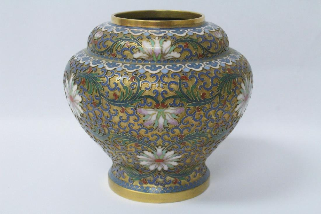 Pair Chinese cloisonne covered jars - 8