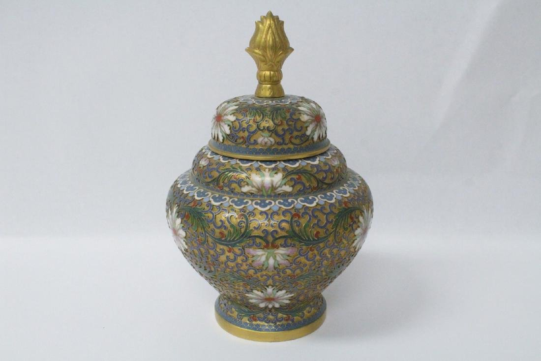 Pair Chinese cloisonne covered jars - 9