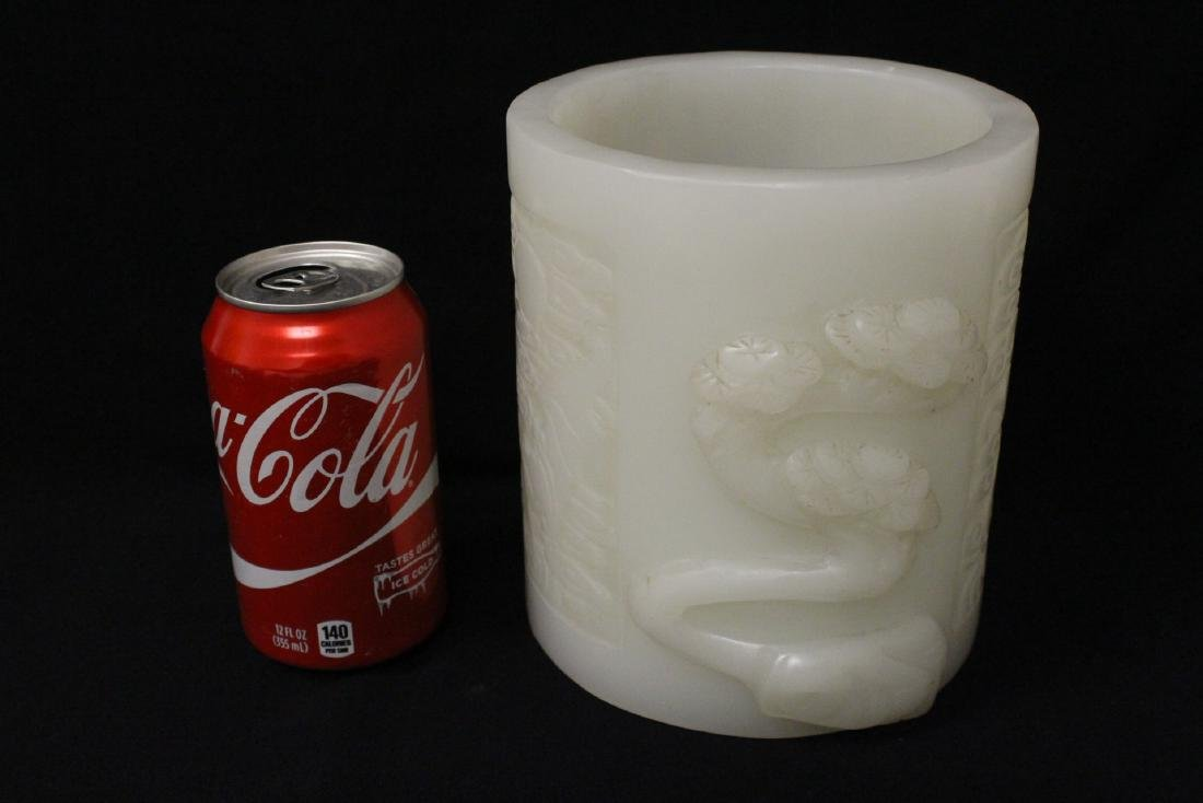 A magnificent large white Peking glass brush holder