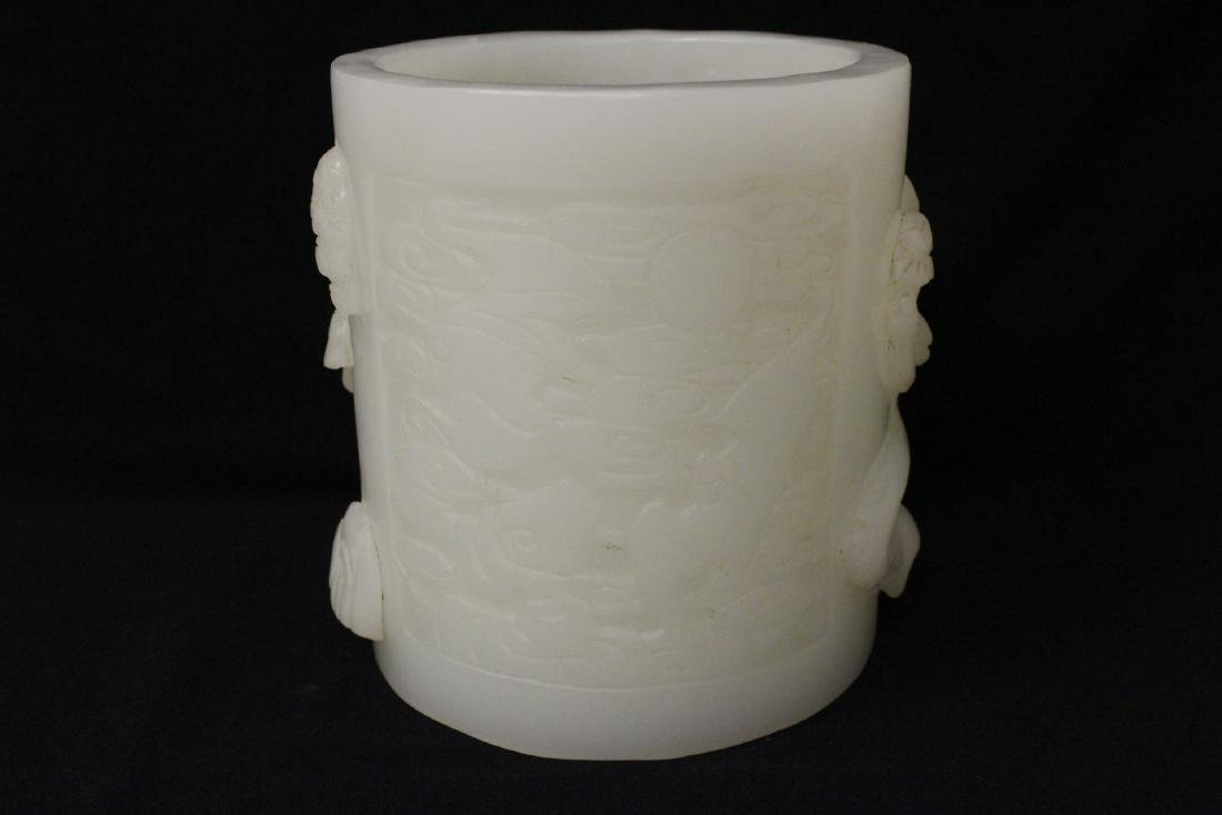 A magnificent large white Peking glass brush holder - 2